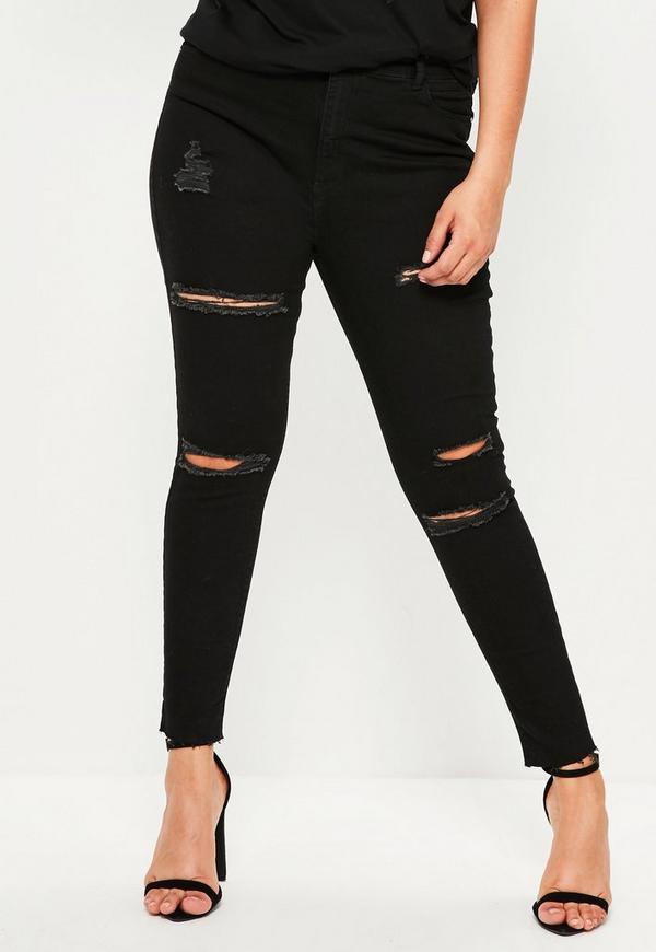 Plus Size Black Sinner High Waisted Ripped Skinny Jeans | Missguided