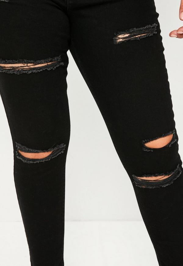 Plus Size Black Sinner High Waisted Ripped Skinny Jeans - Missguided
