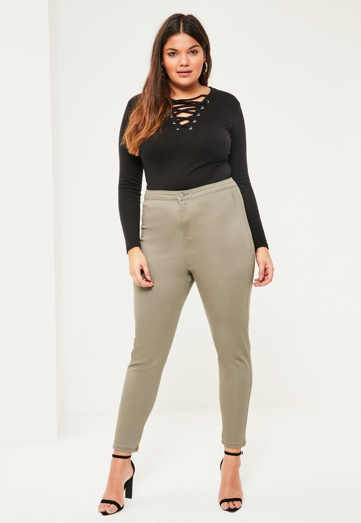 Plus Size Vice Khaki High Waisted Skinny Jeans. Previous Next - Plus Size Vice Khaki High Waisted Skinny Jeans Missguided