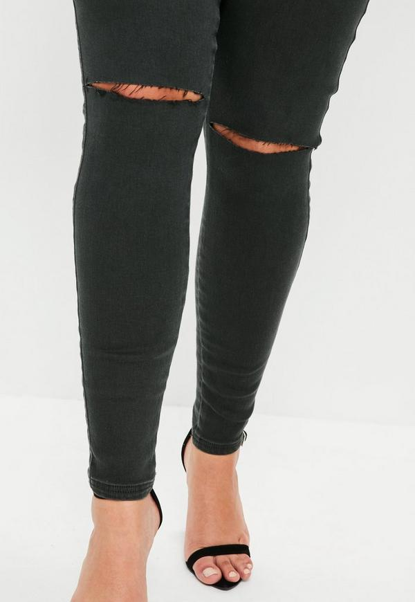 Plus Size Green Vice High Waisted Slash Knee Skinny Jeans - Missguided