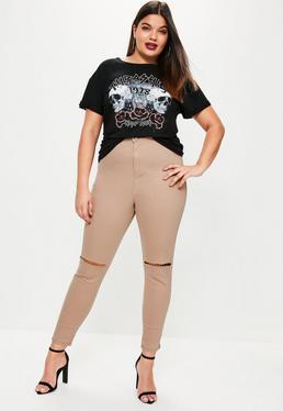 Pantalones Vaqueros Skinny de Talla Grande con Rodillas Recortadas en Camel