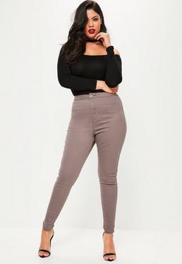 Brązowe jeansy Vice z wysokim stanem Plus Size