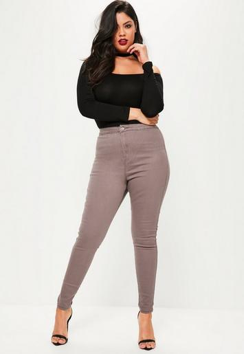 Plus Size Vice Brown High Waisted Skinny Jeans | Missguided