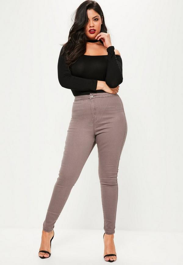 plus size vice brown high waisted skinny jeans - Plus Size Vice Khaki High Waisted Skinny Jeans Missguided