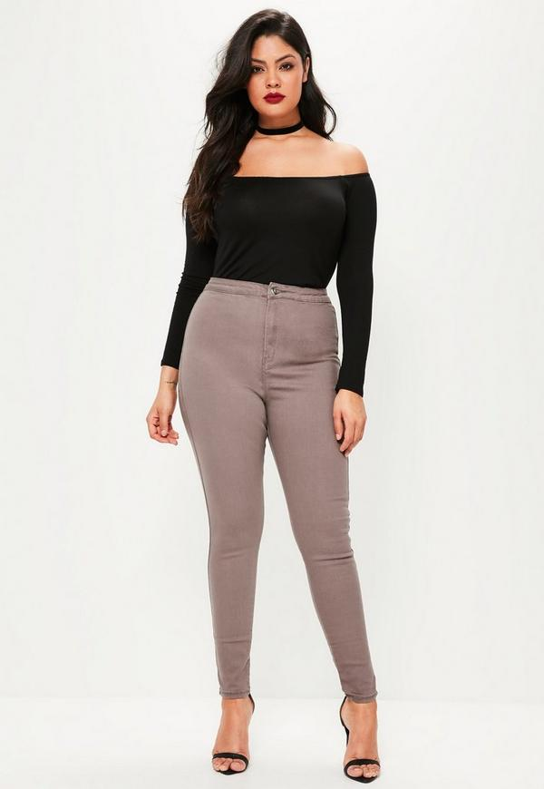 Plus Size Vice Brown High Waisted Skinny Jeans| Missguided