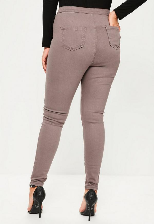 Plus Size Vice Brown High Waisted Skinny Jeans - Missguided