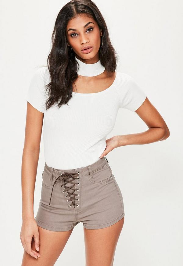 brown vice lace up high waisted denim shorts missguided