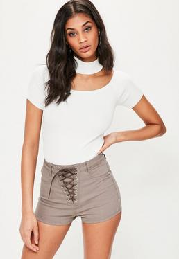 Vice High Waist Schnür-Denim-Shorts in Braun