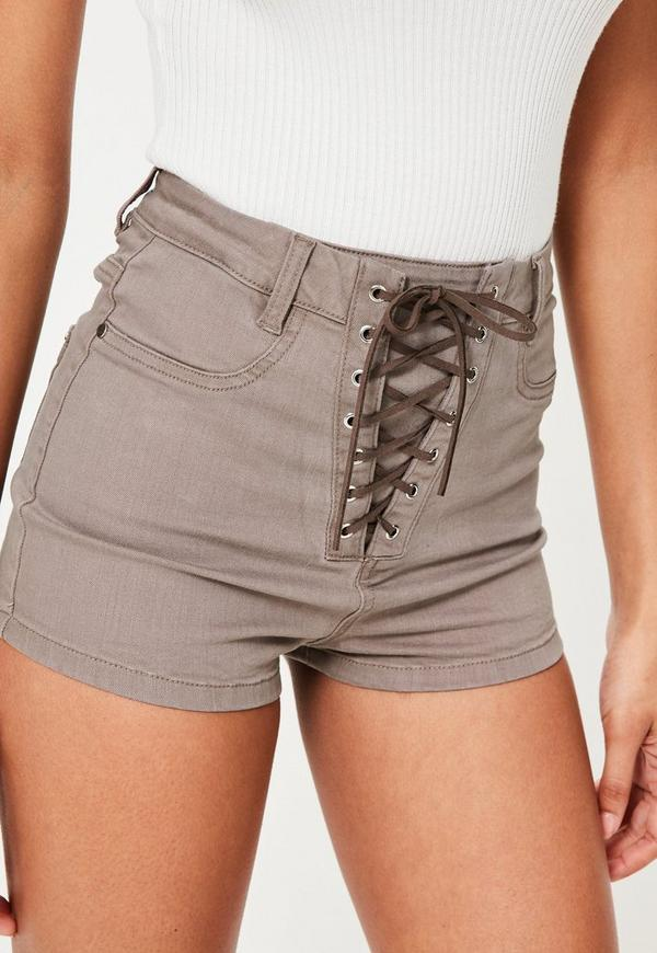 Brown Vice Lace Up High Waisted Denim Shorts | Missguided
