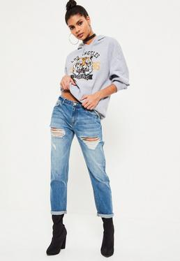 Blue Relaxed Boyfriend Low Rise Jeans