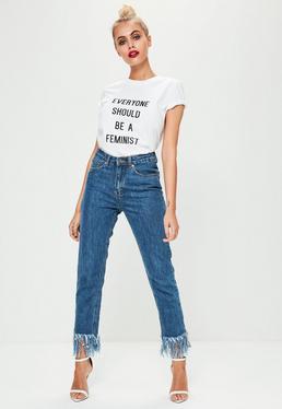 Niebieskie spodnie jeansowe Riot poszarpane na nogawkach z wysokim stanem