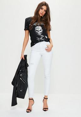 Weiße Hustler Skinny Jeans Hose mit Rip & Repair Effekt und Mid-Rise Länge