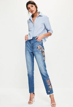 Niebieskie jeansy Riot z wysokim stanem i kwiatowym wzorem