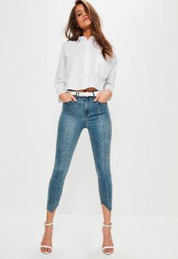 Blue Sinner High Rise Seam Detail Skinny Jeans