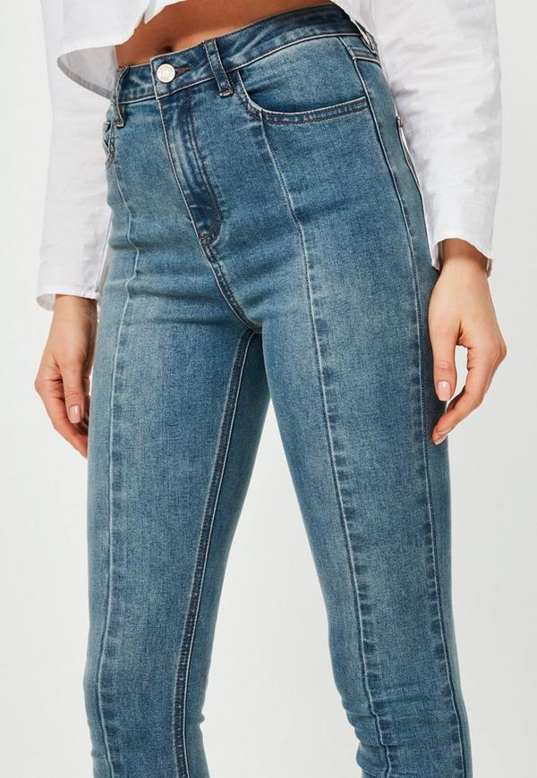 Blue Sinner High Rise Seam Detail Skinny Jeans | Missguided