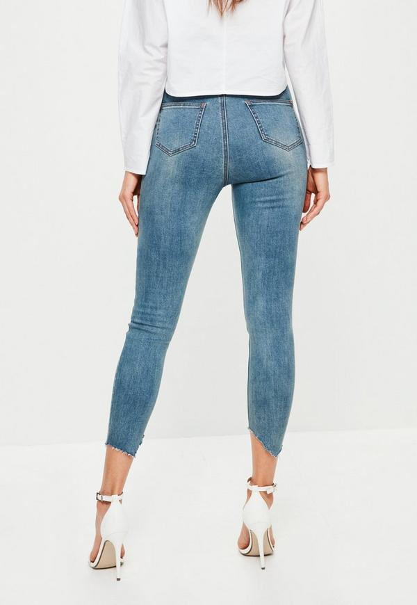 Blue Sinner High Rise Seam Detail Cropped Jeans - Missguided