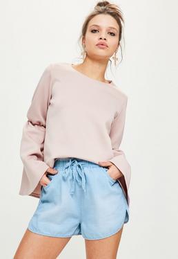 Shorts denim de cintura alta en Azul