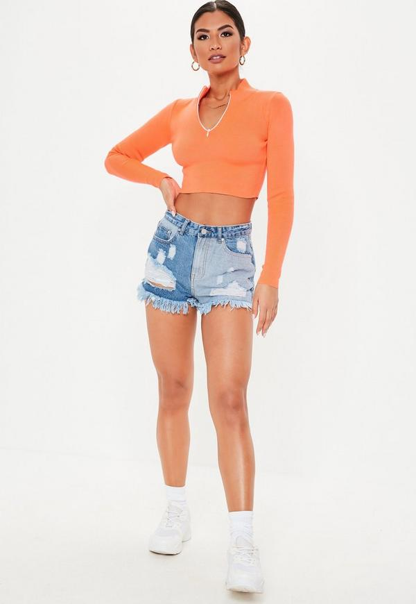 Blue Sinner Contrast Ripped Denim Shorts | Missguided