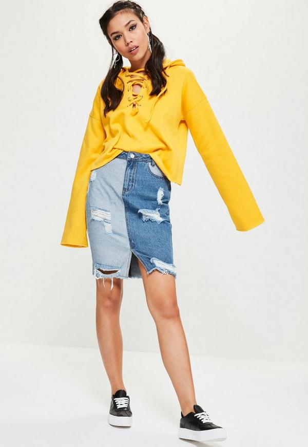 Blue High Rise Ripped Patchwork Skirt