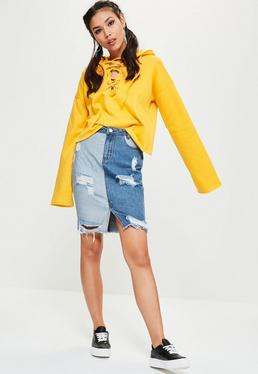 Jupe en jean bleue taille haute denim patchwork