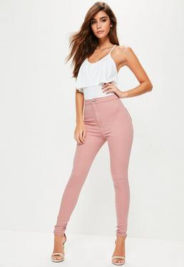 Vice High-Waist Schmale Skinny Stretch Jeggings in Rosa
