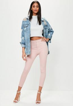 Vice High-Waist Stretch Crop-Jeans in Rosa