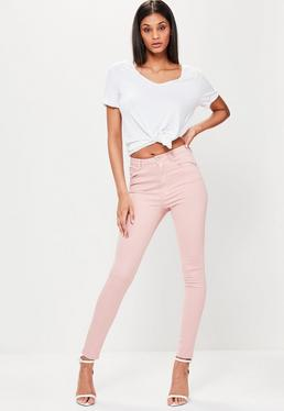 Różowe elastyczne dopasowane spodnie Rebel z wysokim stanem