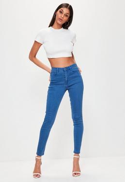 Hustler Mid-Rise Stretch Skinny Jeans in Blau