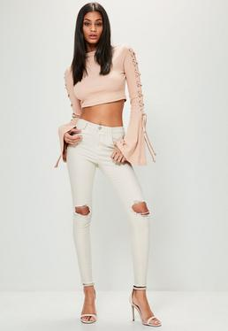 Skinny Mid Rise Jeans in Off-White