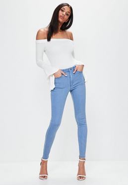 Niebieskie elastyczne dopasowane jeansy Hustler ze średnim stanem