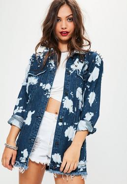 Veste en jean cloutée bleu délavé