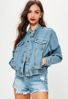 Niebieska jeansowa kurtka bomber w stylu lat 80