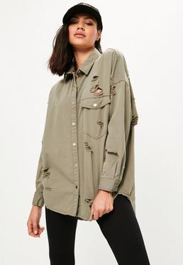 Khaki Oversized Distressed Denim Shirt