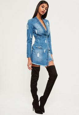 Blue Premium Long Sleeve Plunge Denim Dress