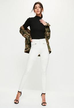 Cream Sinner High Waisted Zip Detail Skinny Jeans