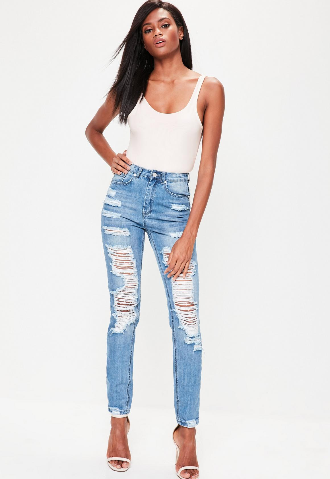 Blue Riot High Rise Ripped Mom Jeans   Missguided