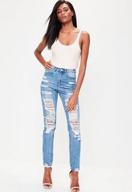 Jeans mom taille haute avec détails destroy Riot