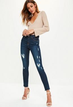 Anarchy Mid-Rise Skinny Jeans mit Rissen in Blau