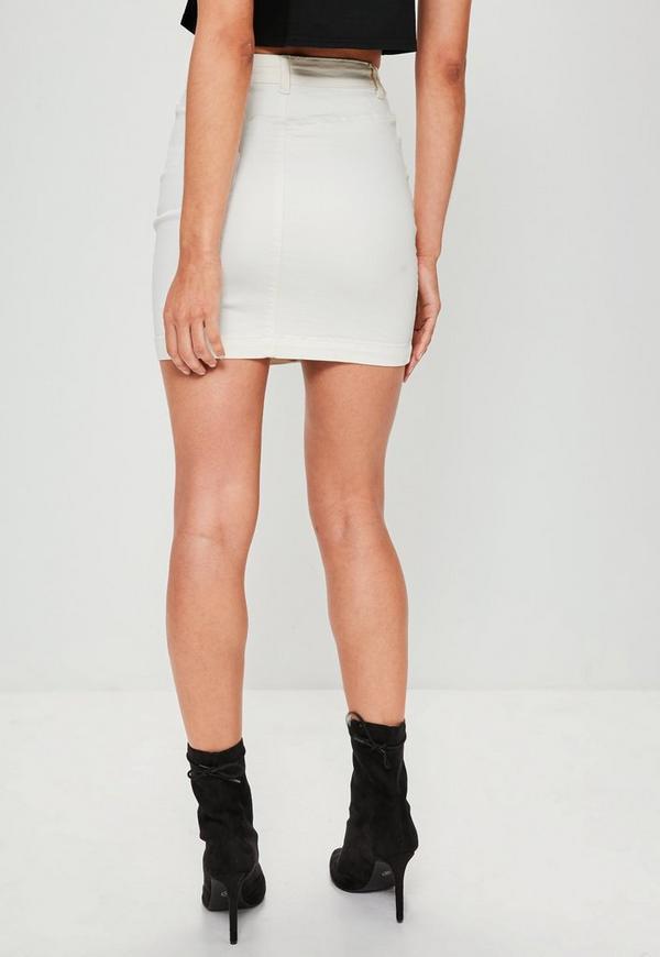 Cream Stretch Denim Mini Skirt | Missguided