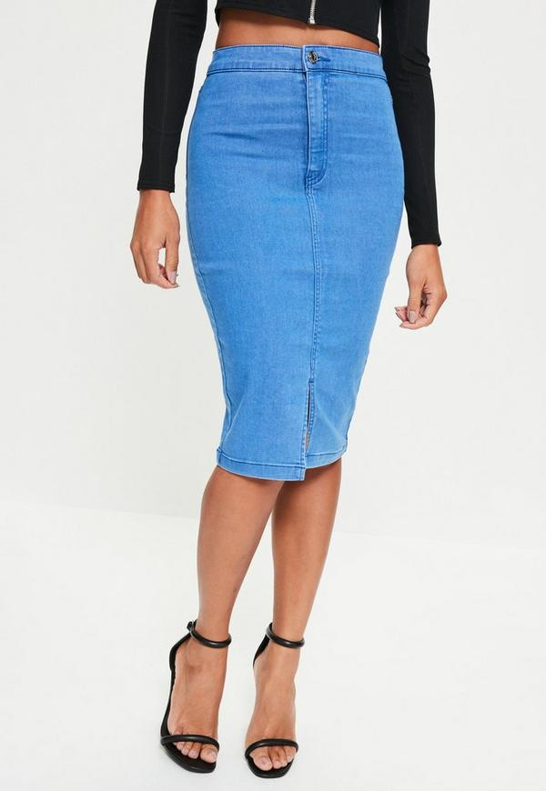 blue high waisted midi denim skirt missguided