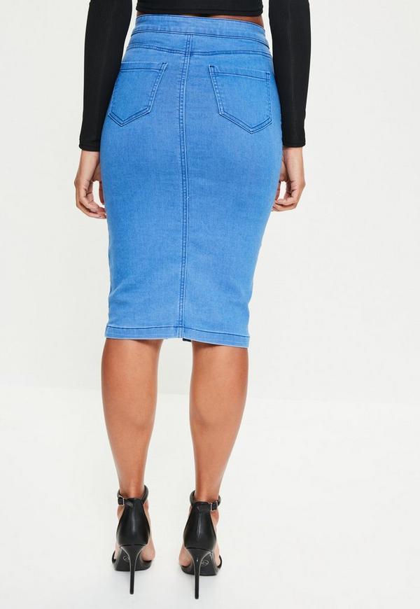 Blue High Waisted Midi Denim Skirt - Missguided