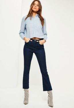 Niebieskie dopasowane jeansy dzwony 3/4 z wysokim stanem
