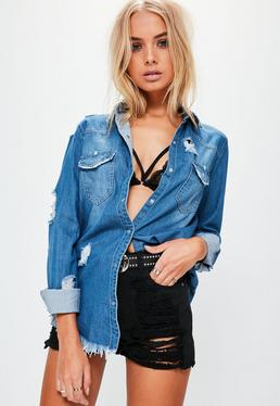 Blue Ripped Denim Shirt