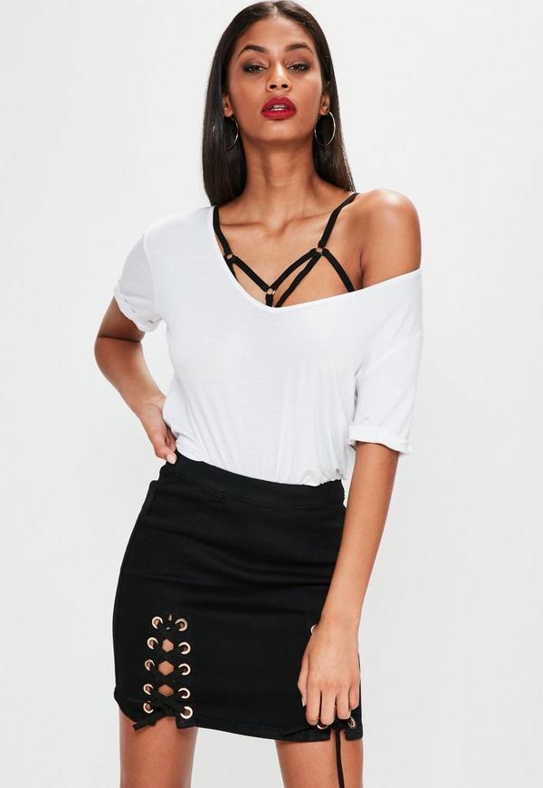 Black Eyelet Lace Up Detail Mini Skirt