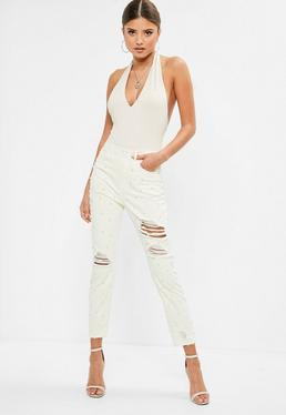 Off-White Riot High Waisted Pearl Ripped Jeans