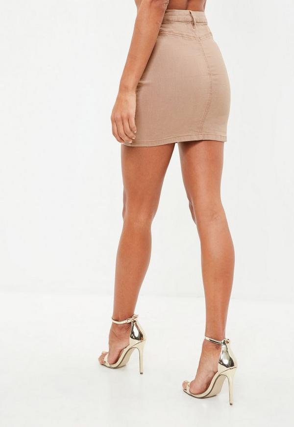 Camel Lace Up Stretch Denim Mini Skirt   Missguided