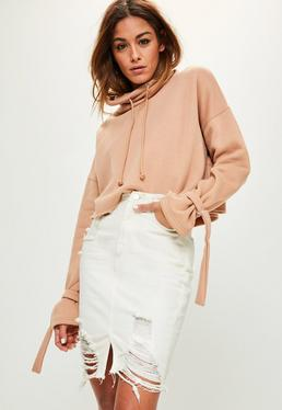 Cream Busted Hem Denim Midi Skirt