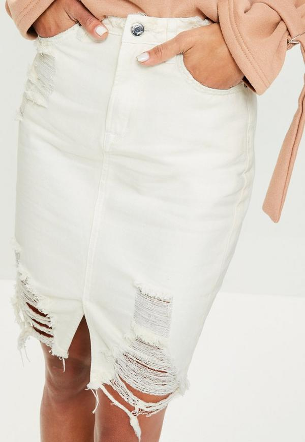 Cream Busted Hem Denim Midi Skirt | Missguided