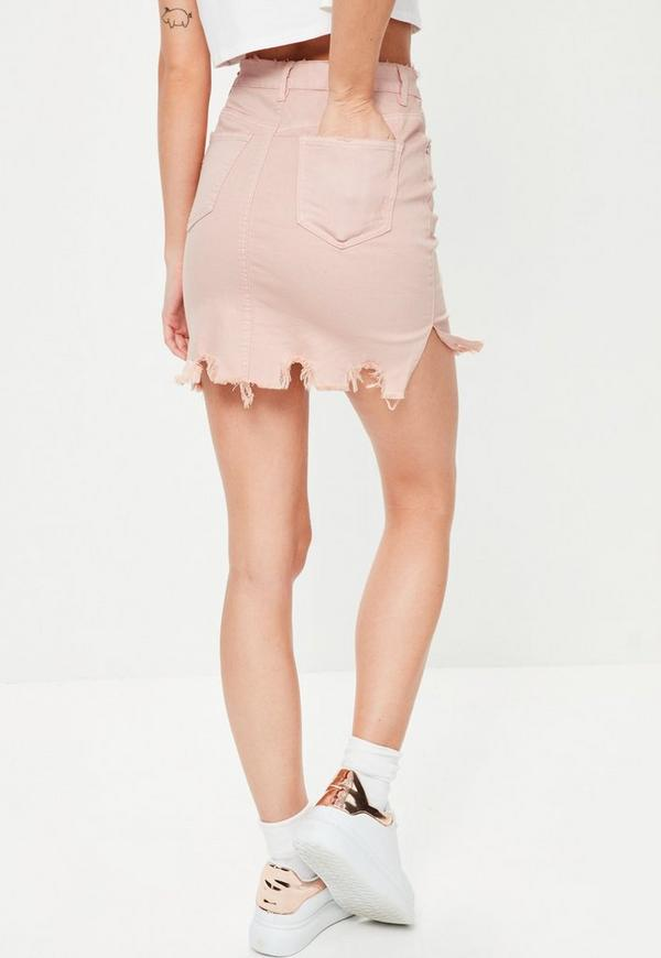 Pink Raw Hem Mini Denim Skirt | Missguided
