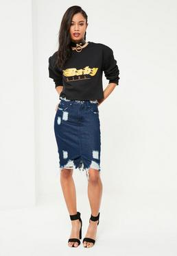 Blue Busted Hem Denim Midi Skirt
